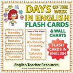 English Days of the Week - Flash Cards / Charts - ESL/ELL Teacher Resource