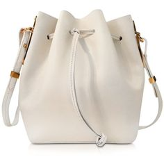 Sophie Hulme Designer Handbags Cream Leather Small Bucket Bag (£605) ❤ liked on Polyvore featuring bags, handbags, shoulder bags, cream, handbags shoulder bags, pink shoulder bag, leather shoulder handbags, pink purse and pink leather purse