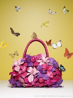 Nancy Gonzalez crocodile orchid bouquet bag in shades of pinks, lavenders, and fuchsia | cynthia reccord