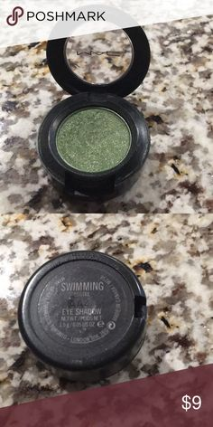 MAC Swimming Eyeshadow 100% Authentic. Purchased from MAC. This is a warm green color with a frost finish. Used twice. Bundling is available, please provide an offer! MAC Cosmetics Makeup Eyeshadow