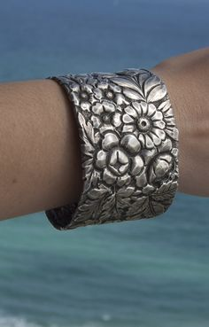 Gorham Victorian Art Nouveau Sterling Silver Cuff by CelebLuxe