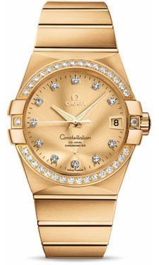 Omega Constellation 18K Brushed Yellow Gold Champagne Dial Diamond Watch 123.55.38.21.58.001