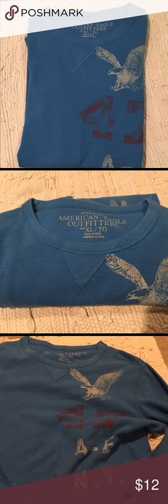 "Unisex American Eagle 🦅 (thermal sz Xl)🦅 Color washed out blue with eagle logo . Measures: 22"" across chest.  29"" length. 20"" sleeve inseam. 💯% cotton. Great used condition. No stains or rips. American Eagle Outfitters Tops Tees - Long Sleeve"