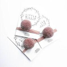 Glitter Blush Pom Pom / kanten haarband