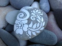 Peace Flower / White Zen series / painted rock by LoveFromCapeCod