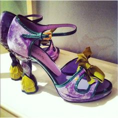 stylish purple with ribbon party shoes