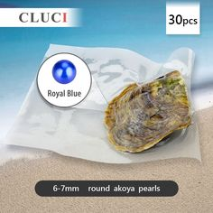 Royal blue 6-7mm round Akoya pearl in oyster 30pcs