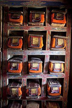 India, Jammu and Kashmir, Ladakh - Prayers book library in a Tibetan Buddhist monastery Buddhist Texts, Ladakh India, Cool Signatures, Mahayana Buddhism, India Facts, Tibetan Buddhism, Prayer Book, Ropes, Incredible India