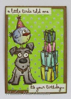 Polka dot background birthday card with Tim Holtz Crazy Dog and Mini Crazy Bird