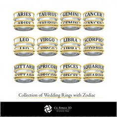 CAD Collection of Wedding Rings with Playing Cards Pisces And Aquarius, Gemini And Cancer, Cad Services, 3d Cad Models, 3d Printer, Jewelry Collection, Playing Cards, Wedding Rings, Collections