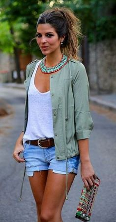 Love EVERYTHING about this out. cutoff with brown belt, basic white deep v-neck tee, light sage jacket. understated statement necklace SPRING & SUMMER FASHION TRENDS 2017! Ask your stitch fix for item