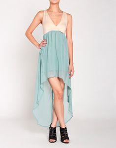 Cross Back Hi-Low Dress in Mint Blue