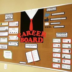This is the Career Bulletin Board I use. My students have found it very helpful when preparing for a job search or job interview.You will receive all printable to create the bulletin board, including:-Interview Preparation Reading List-Interview Dos Counseling Bulletin Boards, College Bulletin Boards, Career Counseling, School Counselor, Information Bulletin Boards, Information Board, Business Education Classroom, Career Advisor, College Advisor