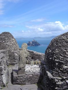Skellig Michael an isolated Christian monestry off the coast of Kerry, Ireland.