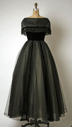 Evening dress Design House: House of Balmain (French, founded 1945) Designer: Pierre Balmain (French, St. Jean de Maurienne 1914–1982 Paris) Date: 1950s Culture: French Medium: silk, synthetic Dimensions: Length at CB (a): 60 in. (152.4 cm)