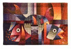 """Tejidas a mano tapiz peruano, """"Peces en armonía"""", Horizontal, pared que cuelga, tapices de Alpaca, por Maximo Laura, Textiles hechos a mano, Perú"""