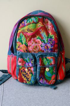 Colorful Embroidered 90s Back Pack
