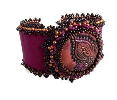 Leather cuff bracelet Indiainspired dark by MoonsafariBeads