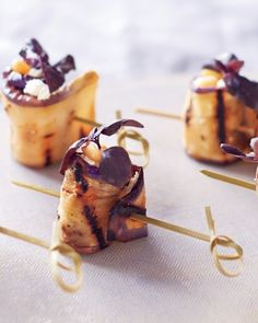 For this skewered hors d'oeuvre, the smoky fruit surrounds a cluster of feta and pine nuts topped with a basil sprig. Tapas, Wedding Finger Foods, Brunch, Grilled Eggplant, Eggplant Recipes, Appetisers, Appetizer Recipes, Yummy Appetizers, Food Inspiration