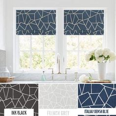 Faux Roman Shade Valances in Geometric Cut Glass Pattern, Custom Made in Navy Blue, Black or Grey Fabrics, Modern Kitchen Valances Modern Valances, Modern Kitchen Curtains, Kitchen Valances, Modern Roman Shades, Faux Roman Shades, Small American Kitchens, Geometric Curtains, Modern Farmhouse Kitchens, Home Decor Fabric