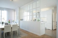 Uploaded by Find images and videos about white, design and interior on We Heart It - the app to get lost in what you love. Open Plan Kitchen Living Room, Home Decor Kitchen, Kitchen Interior, Home Kitchens, Kitchen Design, Room Kitchen, Dining Room, Glass Room Divider, Interior Windows