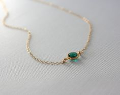 Emerald green crystal necklace - gold filled chain - small dainty gold necklace, simple everyday jewelry, bridesmaid gifts, emerald necklace...