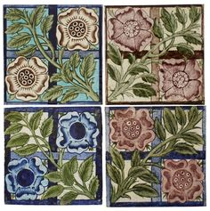 WILLIAM DE MORGAN (1839-1917)  FOUR 'ROSE TRELLIS' PATTERN TILES, NO. 661, 1880S/1890S  in pink, brown and blue glazes, three with impressed maker's marks for Sands End Pottery, with stamped numbers (4)  15.3cm square Morgan Rose, Art Nouveau, Rose Trellis, Persian Pattern, Painting Words, Number Stamps, Trellis Pattern, Aesthetic Movement, William Morris