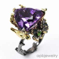 Super Top 15ct aaaa+ Natural Amethyst 925 Sterling Silver Ring Size 9.25/R36183 #APBJewelry #Ring