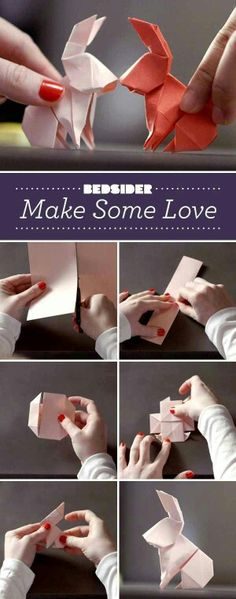 Cute little origami bunnies. Diy Origami, Origami And Kirigami, Origami Paper Art, Origami Tutorial, Diy Paper, Paper Crafts, Oragami, Bunny Origami, Origami Ideas