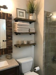 Farmhouse bathroom decor, bathroom inspiration, and master bathroom ideas. A round up of dream master bathroom designs, rustic bathroom suggestions and methods for styling your powder rooms. Industrial Floating Shelves, Floating Shelf Decor, Rustic Shelves, Floating Shelves Bathroom, Bathroom Mirrors, Bathroom Cabinets, Shiplap Bathroom, Bathroom Lighting, Bathroom Fixtures