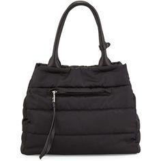 Prada Tessuto Bomber Tote Bag (350.175 HUF) via Polyvore featuring bags, handbags, tote bags, black, black tote, tassel purse, zipper purse, zip top tote and prada tote