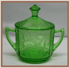 Jeanette Depression Glass Green Sugar Bowl with Lid Floral or Poinsettia - $38