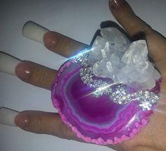 Big Hot Pink Agate Crystal Statement Ring by KATROXWEARATTITUDE