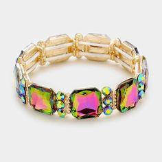 Gold Glam Vitrail Crystal Stretch Cocktail Bracelet