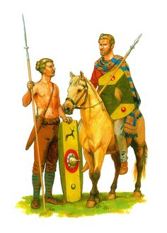 [research] Celtic Tribes-Germanic cavalry and infantryman in the service of Rome Iron Age, Historical Art, Historical Pictures, Ancient Rome, Ancient History, Germanic Tribes, Civil War Photos, Picts, Military Art