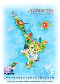 Calendar page: Illustrated map of the North Island New Zealand © by Claudia Ottilie North Island New Zealand, Calendar Pages, Travel Maps, Beautiful Beaches, Kiwi, Art Decor, Sydney, Road Trip, November