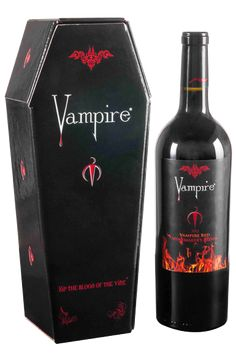 Vampire Wines – Red Winemakers Blend, sold as pre-order only; comes in coffin box Party Drinks, Cocktail Drinks, Fun Drinks, Yummy Drinks, Alcoholic Drinks, Beverages, Alcohol Bottles, Liquor Bottles, Halloween Drinks
