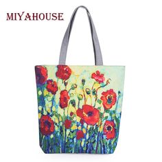 Quality Miyahouse Floral Printed Canvas Tote Female Single Shopping Bags Large Capacity Women Canvas Beach Bags Casual Tote Feminina with free worldwide shipping on AliExpress Mobile Canvas Handbags, Canvas Tote Bags, Tote Handbags, Fashion Handbags, Fashion Bags, Floral Tote Bags, Printed Tote Bags, Canvas Shoulder Bag, Shoulder Bags