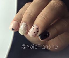 Accurate nails, Beige and pastel nails, Black nails ideas, Heart nail designs, Ideas for short nails, Nails ideas 2017, Painted nail designs, Polka dot nails