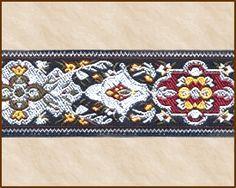 Basque, Jacquard Ribbon Fabric Trim, 1-1/16 inch, Black - Silver - Red - Moss - White - Mustard Yellow