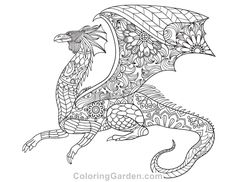 Free Printable Dragon Adult Coloring Page Download It In PDF Format At Coloringgarden
