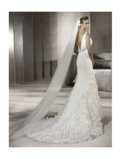 16 Amazing Mermaid Wedding Dresses, Satin Organza Sleeveless V-Neckline V-back Mermaid Style with Slit and Ruffles Overskirt