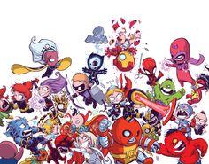 X-Men vs The Avengers como bebés por Skottie Young.