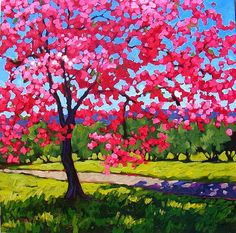 Spring Cherry Blossoms Abstract Huge Contemporary by pattyabaker, $1200.00
