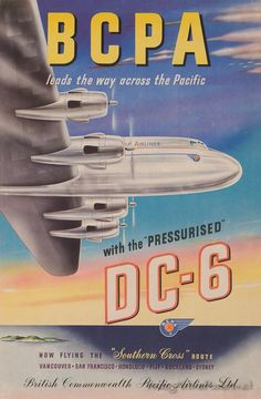 British Commonwealth Pacific Airlines DC-6 travel poster