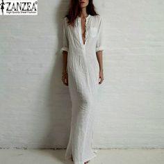 Zanzea moda Vestidos 2016 outono mulheres Sexy Casual Dress manga comprida profundo V Neck linho dividir sólidos longo Maxi vestido Plus Size