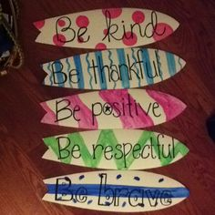 Classroom rules/principles. Surfboard = beach theme