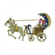 Pre-owned 14k Tri-Color Gold Ruby Sapphire Couple Horse Carriage... ($2,990) ❤ liked on Polyvore featuring jewelry, brooches, sapphire jewelry, horse jewelry, tri color jewelry, gold jewellery and gold brooch