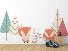 Vinilo infantil zorritos Cute Bedroom Decor, Baby Bedroom, Nursery Wall Decor, Baby Room Decor, Kids Bedroom, Playroom Mural, Kids Wall Murals, Room Wall Painting, Kids Room Paint