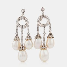 A pair of natural drop-shaped saltwater pearl and diamond girandole earrings. Pearl Earrings, Drop Earrings, Bukowski, Antique Jewelry, Auction, Gems, Pairs, Shapes, Elegant